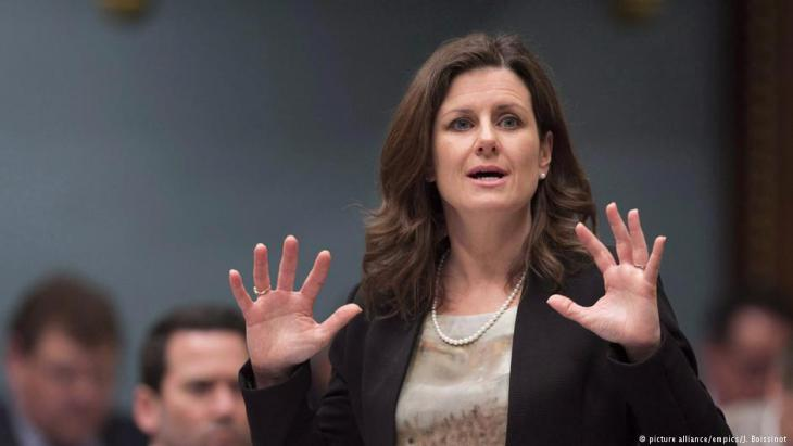 Quebec's Justice Minister Stephanie Vallee responds to the opposition during parliamentary question time, 16.05.2017 (photo: picture-alliance/empics/J. Boissinot)