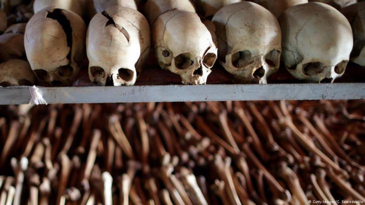Skulls and mortal remains dating from the Rwandan genocide in 1994 (photo: Getty Images)