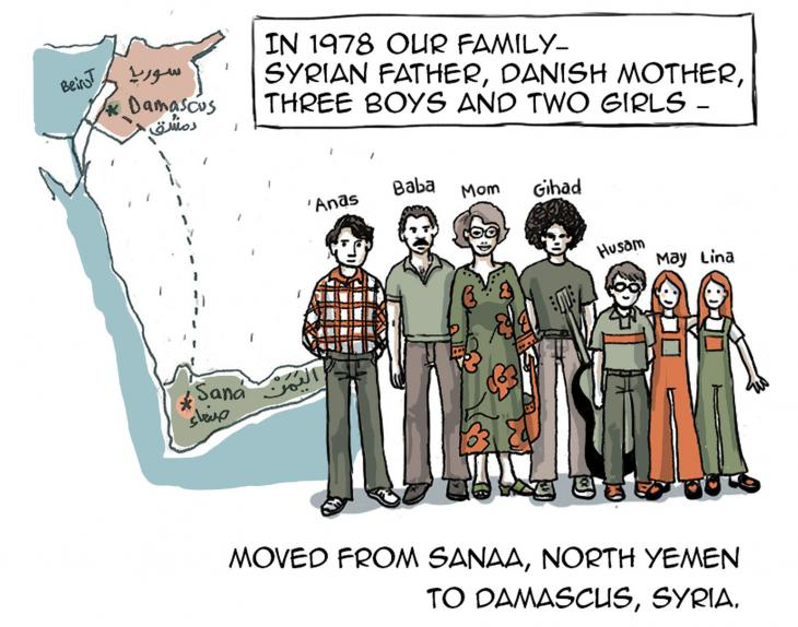 """Opening graphic of Lina Ghaibeh's """"An education in fear: Growing up in the Assad regime's Syria"""" (source: thenib.com)"""