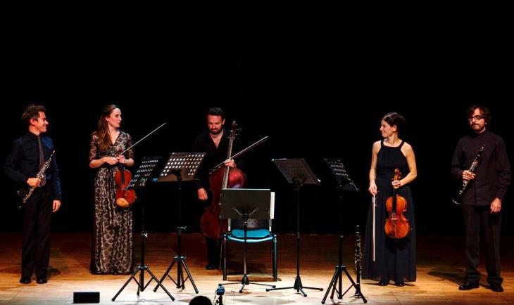 Musicians at the Chios Music Festival 2017 (from left to right): Demetrios Karamintzas, Olga Holdorff-Myriangou, Martin Smith, Leila Weber, Spyros Tzekos (photo: Stamatis Menis)