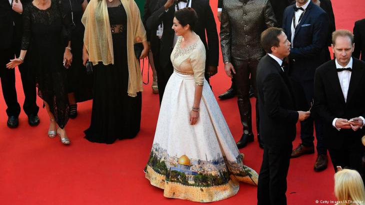 Culture minister Miri Regev wearing the controversial Jerusalem dress in Cannes (source: Getty Image)