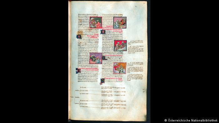 Page from a 14th-century book on obstetrics (photo: Österreichische Nationalbibliothek)