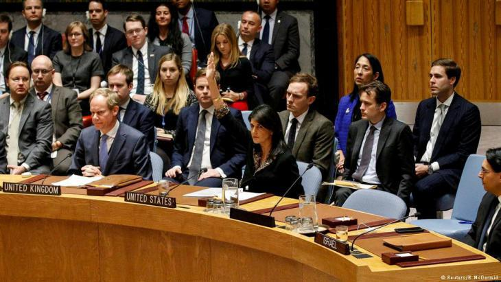 Nikki Haley casts her vote at the UN Security Council in New York (photo: Reuters/B. McDermid)