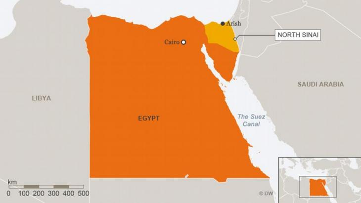 Map of Egypt showing the North Sinai region (source: Deutsche Welle)