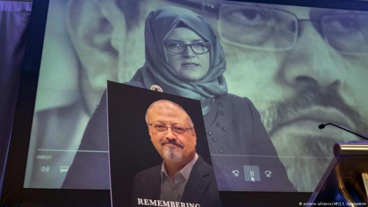 Photo montage in memory of Jamal Khashoggi, featuring Hatice Cengiz, fiancee of the murdered journalist (photo: picture-alliance/AP)