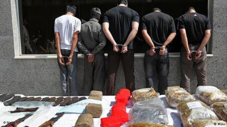 Drug dealers under arrest in Tehran following a drugs haul (photo: Mehr)