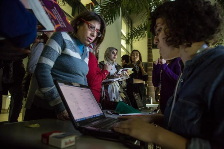 Women at a Wiki Gender event (photo: Roger Anis/Goethe-Institut Cairo)