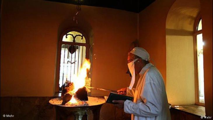 Religious ceremony conducted by the Gohanbar Khani Zoroastrians in Iran (source: Mehr)