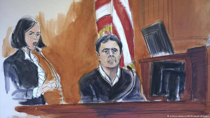 Sketch of court proceedings showing the former deputy chairman of the Turkish Halkbank, Mehmet Hakan Atilla, during his testimony in front of a jury in New York (photo: picture-alliance/AP/Elizabeth Williams)