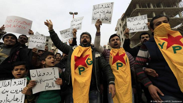 Kurds in Afrin protest against the Turkish military offensive (photo: Getty Images/AFP)