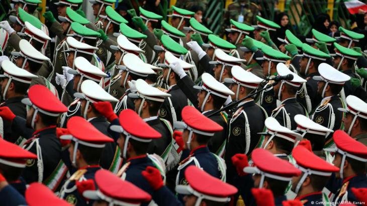 Officers preparing for the 39th anniversary of the Islamic Revolution in Tehran (photo: Getty Images/AFP)