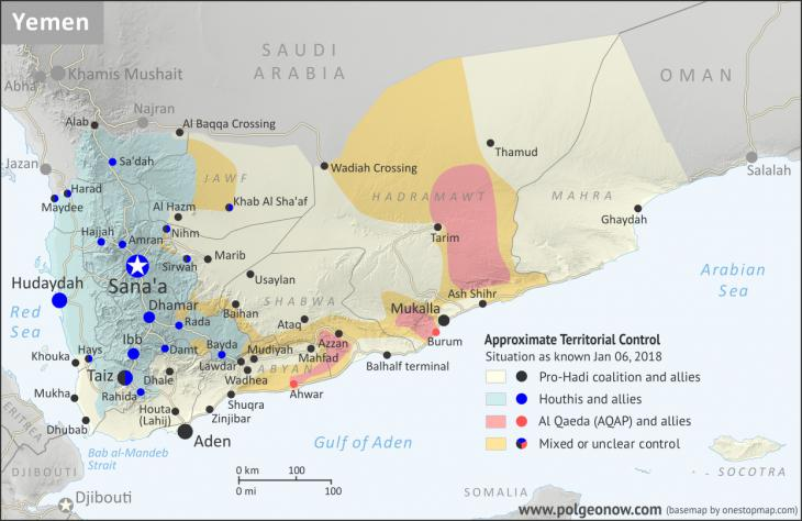 Map of Yemen showing areas under Houthi control (source: polgeonow.com; base map by onestopmap.com)