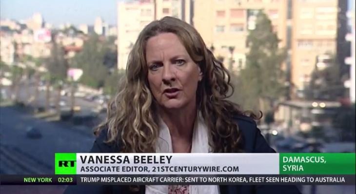 Still from Russia Today TV interview with Vanessa Beeley