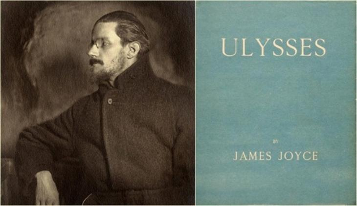 "Irish writer James Joyce (02.02.1882 – 13.01.1941) and a cover of his masterpiece ""Ulysses"""