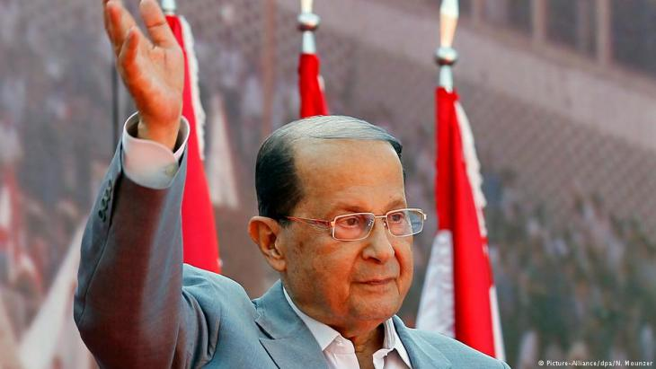 An archive photo 11.10.2015 showing Michel Aoun, founder of Lebanonʹs Free Patriotic Movement, greeting supporters during a demonstration on the street leading to the Presidential Palace, east of Beirut, Lebanon. On 31.10.2016 Aoun was elected as the new Lebanese president by members of the Lebanese parliament (photo: picture-alliance/dpa/N. Mounzer)