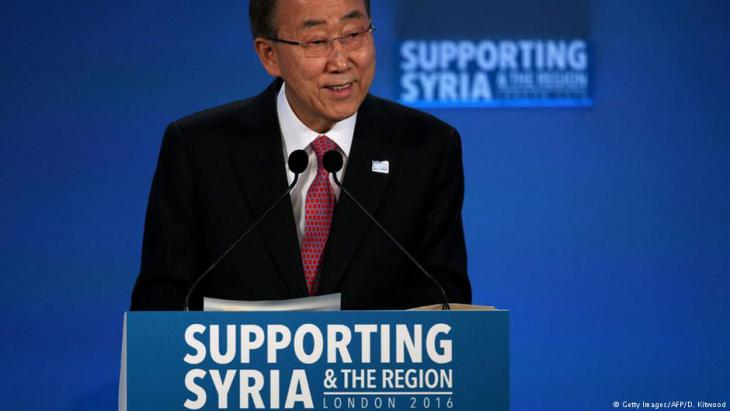 Former UN Secretary-General Ban Ki-moon speaks during a donor conference entitled 'Supporting Syria & The Region' at the QEII centre in central London on 04.02.2016 (photo: Getty Images/AFP/Dan Kitwood)