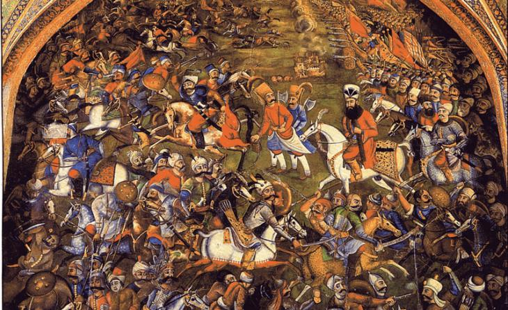 Detail of a fresco in Chehel Sotoun palace, Isfahan, showing the Battle of Chaldiran between the Ottomans and the Safavids in 1514 (source: Wikimedia Commons)