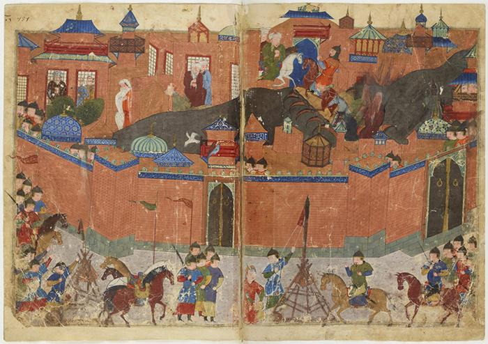Ancient illustration showing the Mongols entering Baghdad