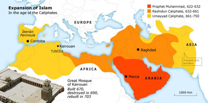 Expansion of Islam in the age of the caliphates (source: fanack.com)