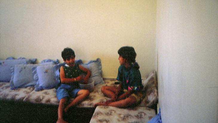 Cousin Nour (left) with the author at their grandparentsʹ house in Gaza City, Palestine, 1989 (photo: private)