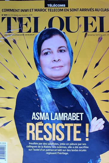 "Cover of the Moroccan magazine ""Tel Quel"" with the lead on Asma Lamrabet"