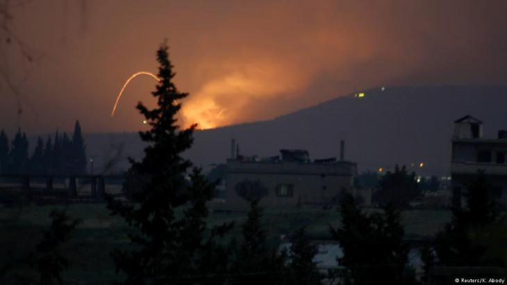 Missile strike near Hama, Syria (photo: Reuters)