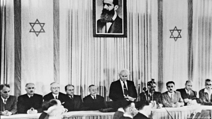 Israeli Prime Minister Ben Gurion on 14 May 1948 in Tel Aviv (photo: picture-alliance/dpa)