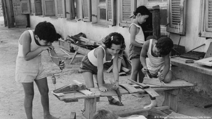 Children learning carpentry skills at the Givat Brenner Kibbutz, Israel, circa 1950 (photo by George Pickow/Three Lions/Hulton Archive/Getty Images)