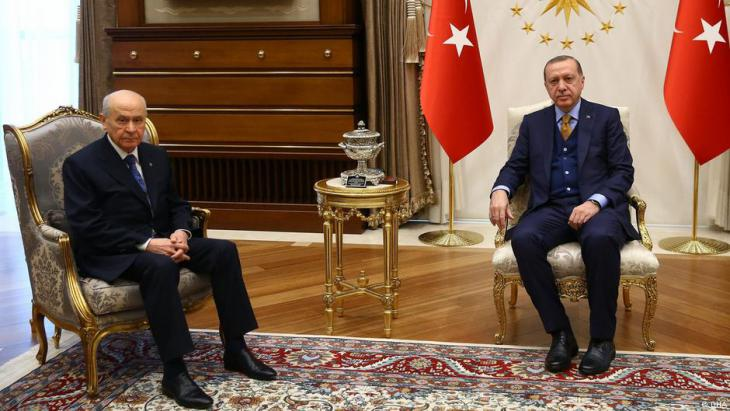 Turkish President Recep Tayyip Erdoğan and leader of the opposition MHP party Devlet Bahceli (photo: DHA)