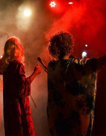 "Members of the band ""Cabaret al-Shaikat"" perform in Casablanca (photo: Raseef22)"