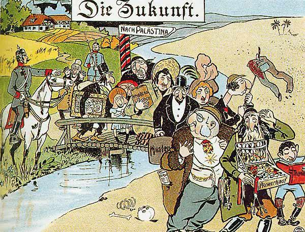 "Anti-Semitic German caricature from 1900 (source: History text book ""Zeiten und Menschen 1"")"