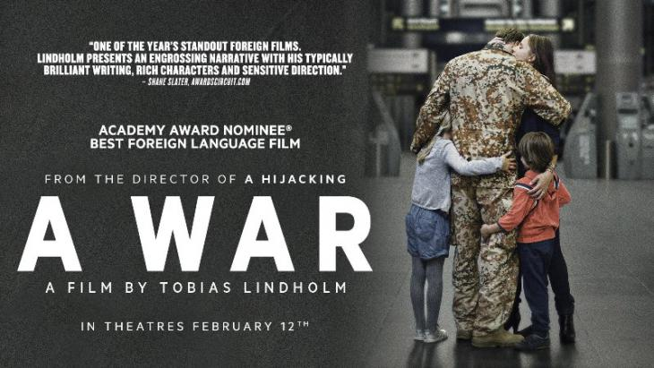 "Film poster for Tobias Lindholmʹs ""A War"" (source: YouTube trailer)"