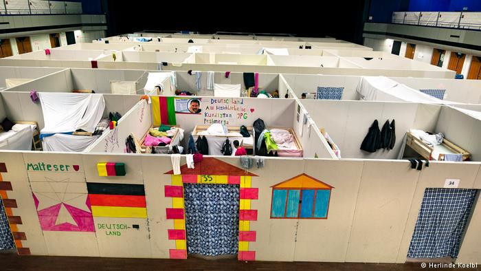 Emergency shelters in a German refugee reception centre (photo: Herlinde Koelbl)