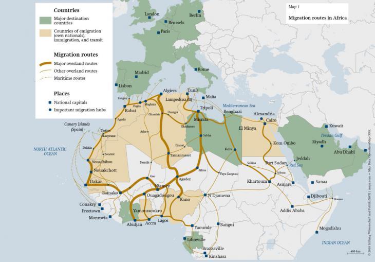 Migration routes in Africa (source: Stiftung Wissenschaft & Politik)