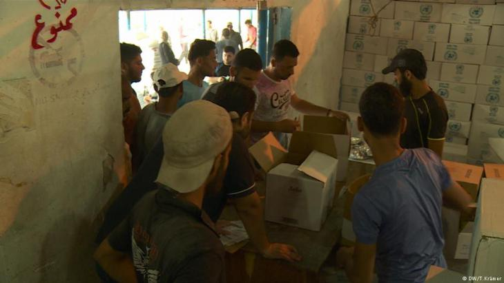 Food aid being distributed by UNWRA in Gaza (photo: DW/T. Kraemer)