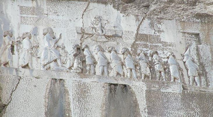 Behistun inscription, Mount Behistun, Kermanshah Province, Iran (photo: Wikipedia)