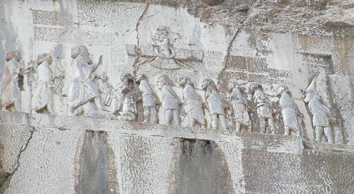 Behistun inscription, Mount Behistun, Kermanshah Province, Iran (photo: Wikipedia)