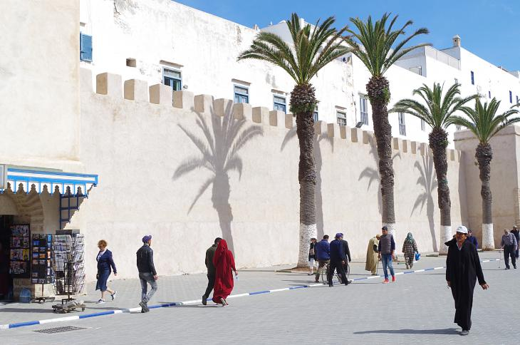 View of the medina walls close to the Bab Sbaa Gate in Essaouira, Morocco (photo: Claudia Mende)
