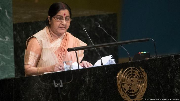Indian Foreign Minister Sushma Swaraj addresses the 73rd session of the United Nations General Assembly on 29 September 2018 at U.N. headquarters (photo: picture-alliance/AP Photo/M. Altaffer)