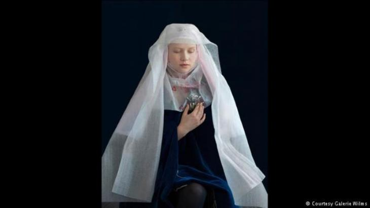 Suzanne Jongmans' photograph from her series 'Mind over Matter' uses recycled materials to recall works by Flemish masters featuring women with head coverings (photo: Galerie Wilms)