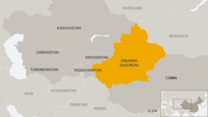 Infographic showing geographical position of Chinaʹs Xinjiang province (source: Deutsche Welle)