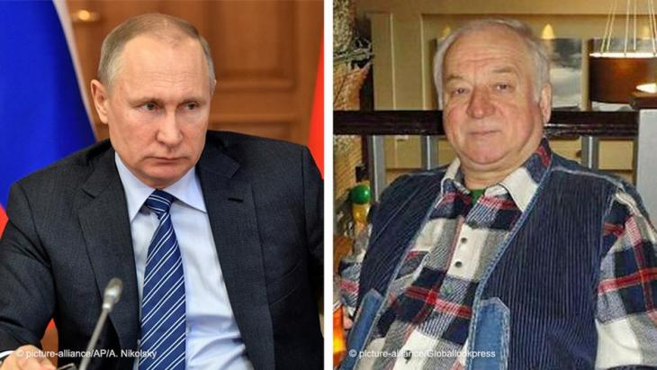Montage of two images showing Russian President Vladimir Putin on left; Sergei Skripal, former Russian double agent, victim of an attempted poisoning in Salisbury, allegedly ordered by the Kremlin, on the right (photos: picture-alliance/AP/A. Nikolsky; picture-alliance/Globallookpress)