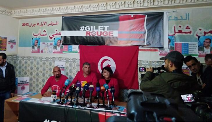 Press conference held by the Red Vests on 14 December in Tunis (photo: Alessandra Bajec)