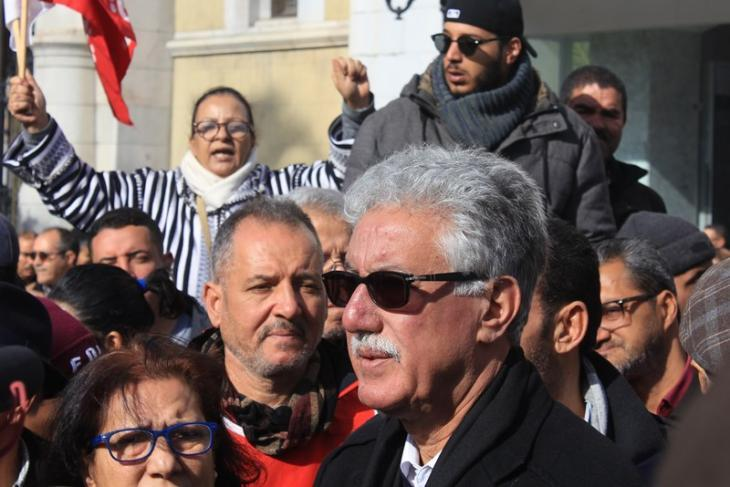 Hamma Hammami attending a demonstration in downtown Tunis during the general strike (photo: Sofian Philip Naceur)