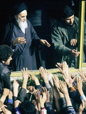 Ayatollah Khomeini following his arrival in Tehran on 2 February 1979 (photo: Getty Images)