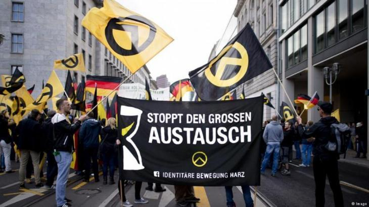 Members of the Identitarian Movement demonstrate in Berlin in 2016 (photo: Imago)