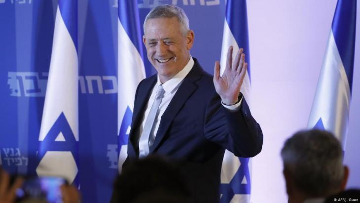 Former chief of staff Benny Gantz at an election rally in Tel Aviv (photo: AFP)
