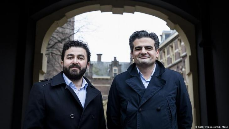 "Leaders of migrant party ""Denk"": Tunahan Kuzu (right) and Selcuk Ozturk pose at the Binnenhof in The Hague, on 23 February 2017 (photo: Getty Images/AFP/B. Maat)"