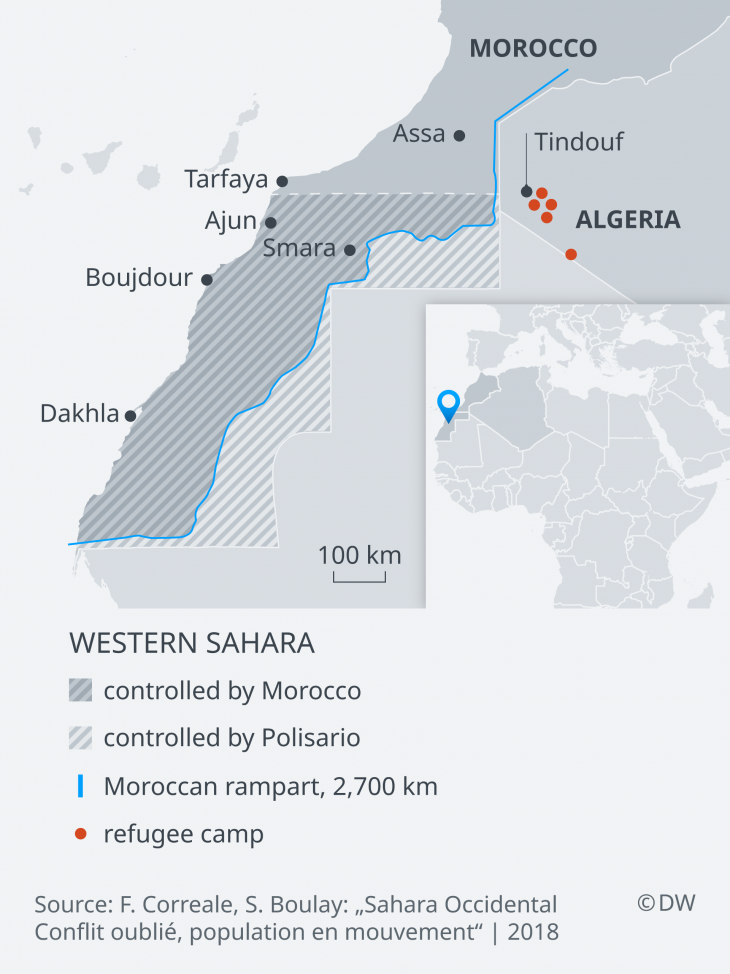 Map of Western Sahara and the neighbouring North African states (sources: DW)