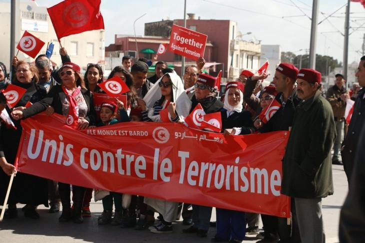 Anti-terrorism protests in the Tunisian capital Tunis following the attacks on the Bardo National Museum; 18 March 2015 (photo: Aya Chebbi)